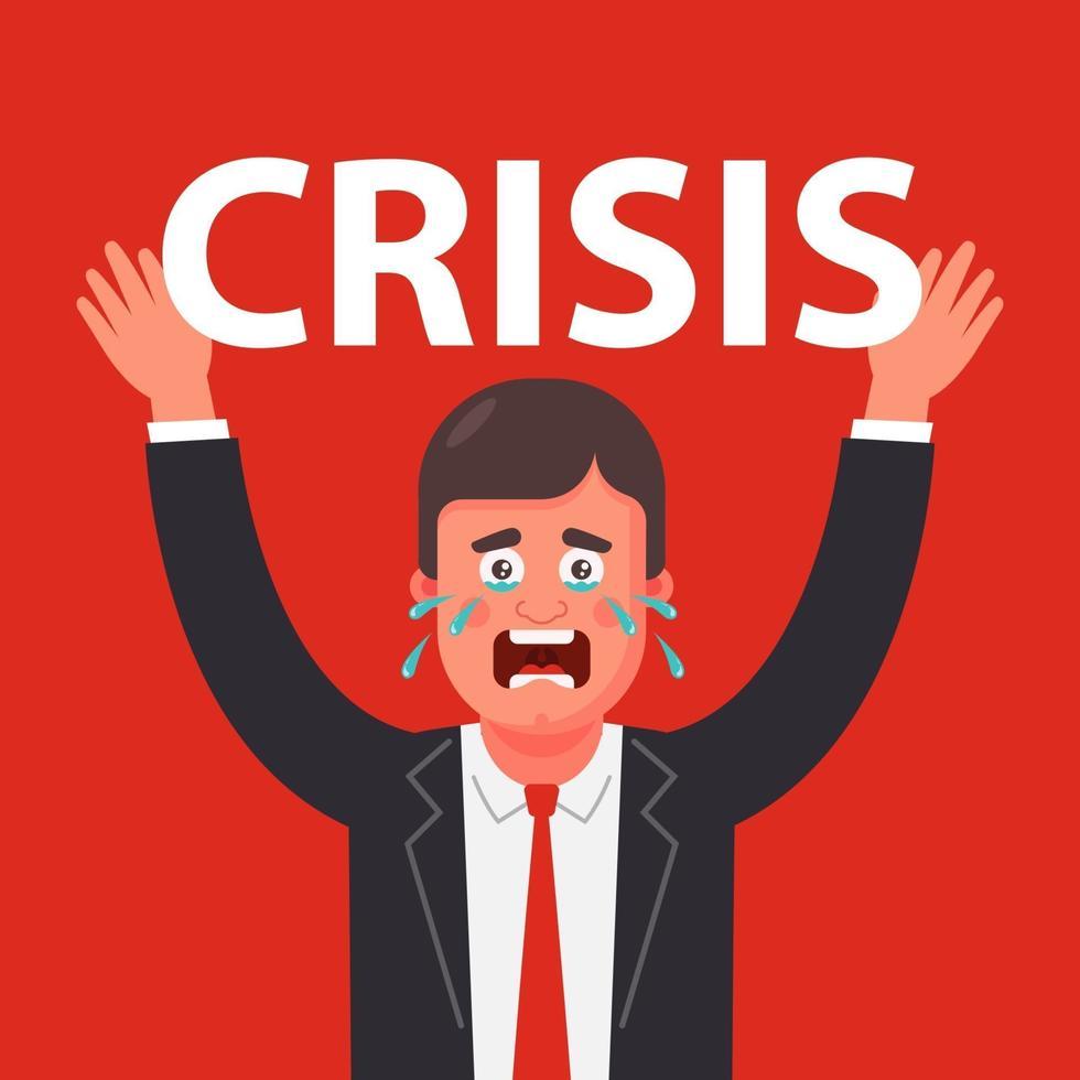 iemand ervaart een enorme druk op zichzelf als gevolg van de crisis. platte vector tekenopname.