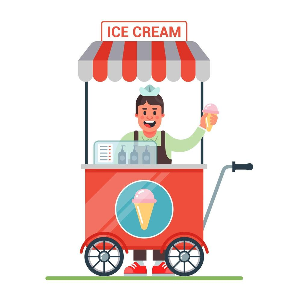 kar op wielen met ijs. vrolijke verkoper verkoopt ijs. platte karakter vectorillustratie vector