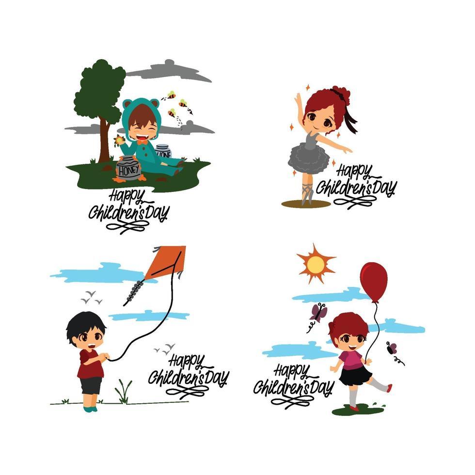 gelukkige kinderdag ontwerpset vector