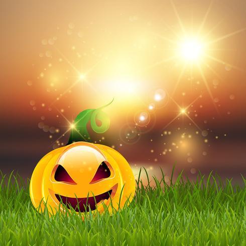 Halloween-pompoen in gras vector