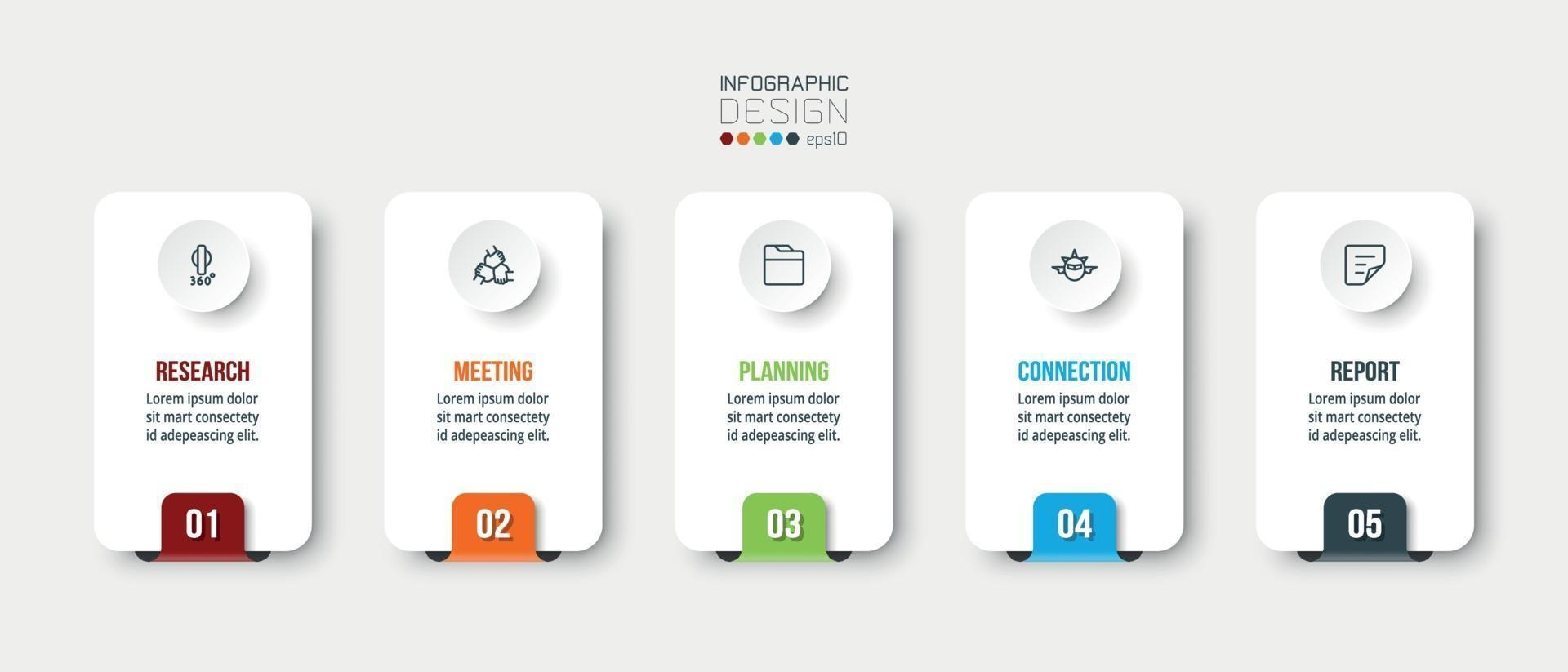 zaken of marketing infographic met stap of optiesjabloon. vector