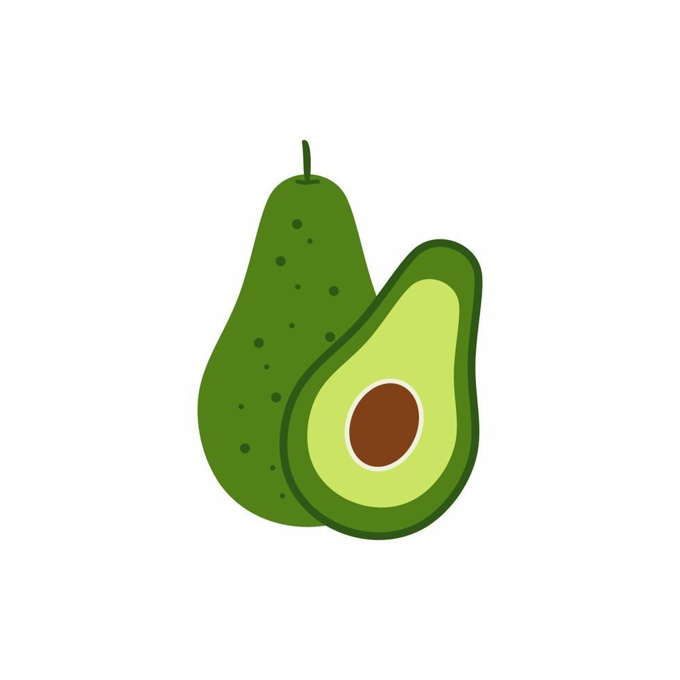 verse hele avocado en gesneden half fruit met pit geïsoleerd op een witte achtergrond. biologisch voedsel. cartoon stijl. gezonde levensstijl concept. vector gekleurde fruit platte ontwerp illustratie.