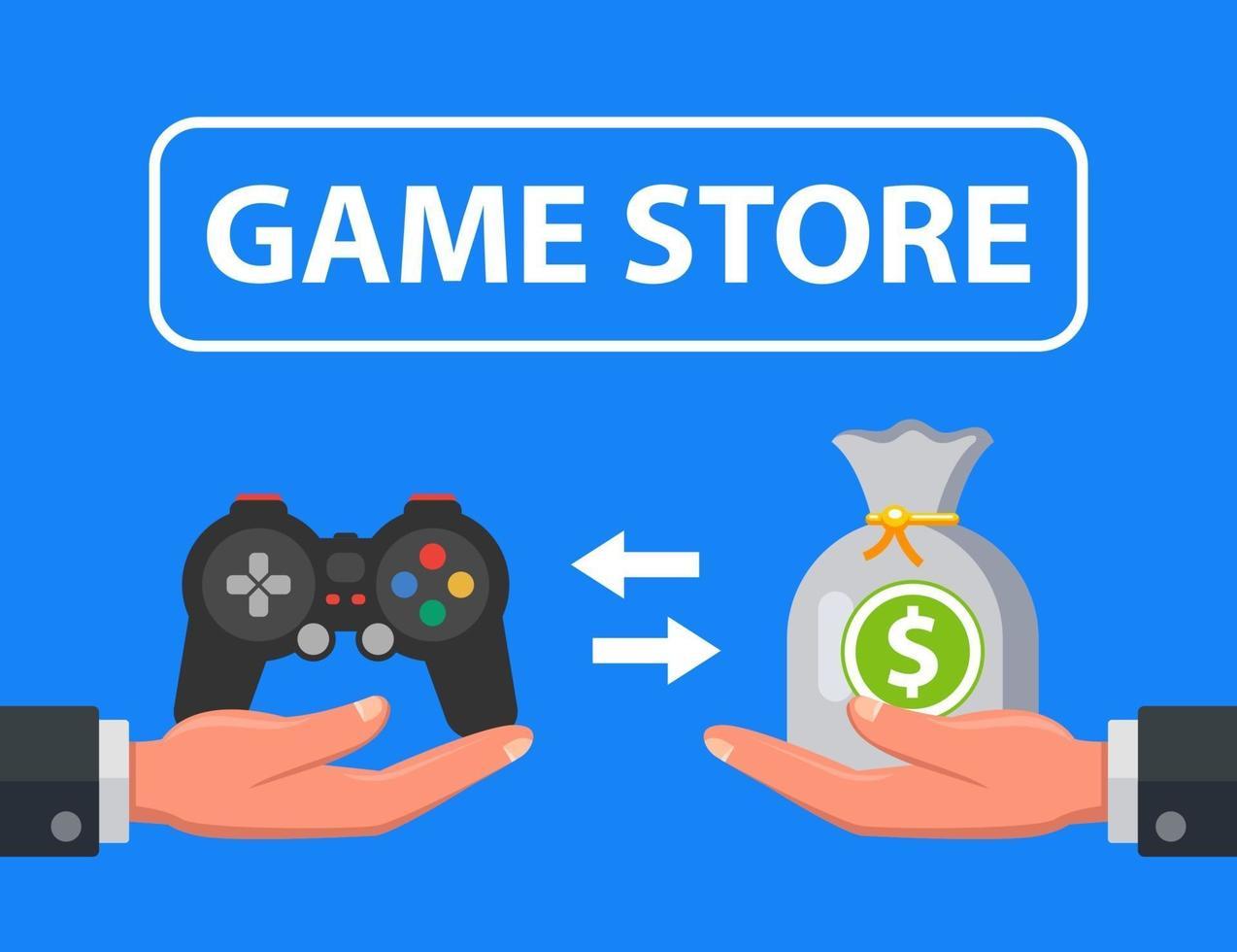 game store die console verkoopt voor geld. platte vectorillustratie. vector