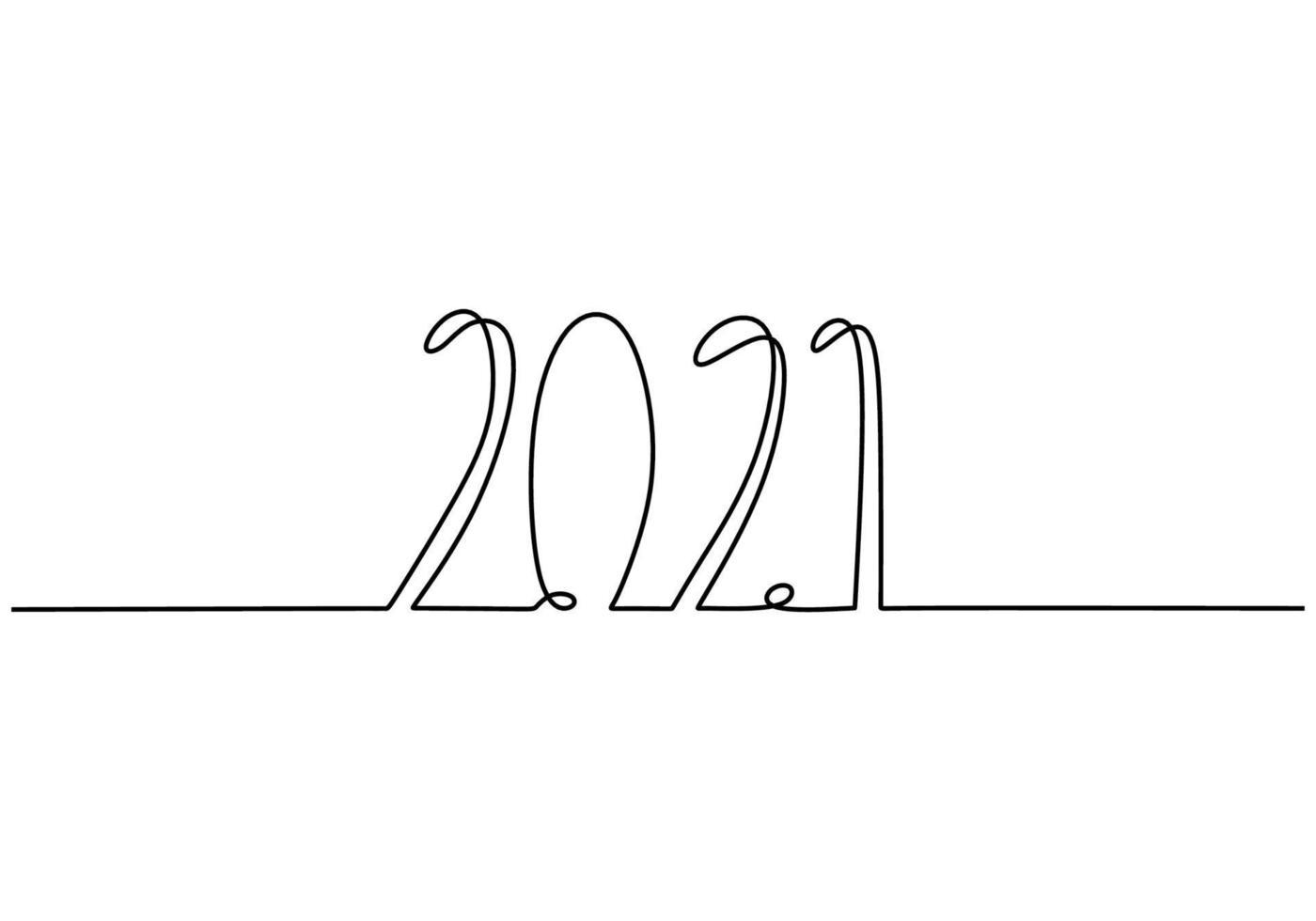 2021 nieuwjaarsontwerp in doorlopende lijntekeningen stijl minimalistische zwarte lineaire schets geïsoleerd op een witte achtergrond. jaar van de stier. gelukkig nieuwjaar concept. vector ontwerp illustratie