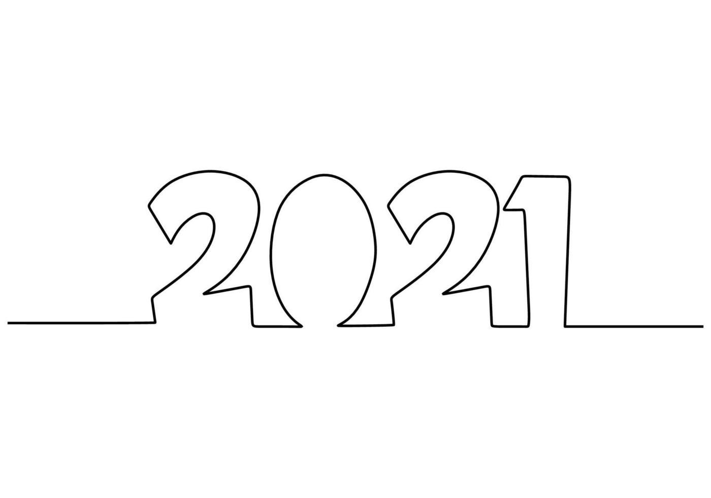 2021 van een nieuwe jaar ononderbroken lijntekening geïsoleerd op een witte achtergrond. viering voor het komende nieuwe jaar handgetekende lijntekeningen minimalisme design. nieuw jaar, nieuw leven, nieuwe wereld. vector illustratie