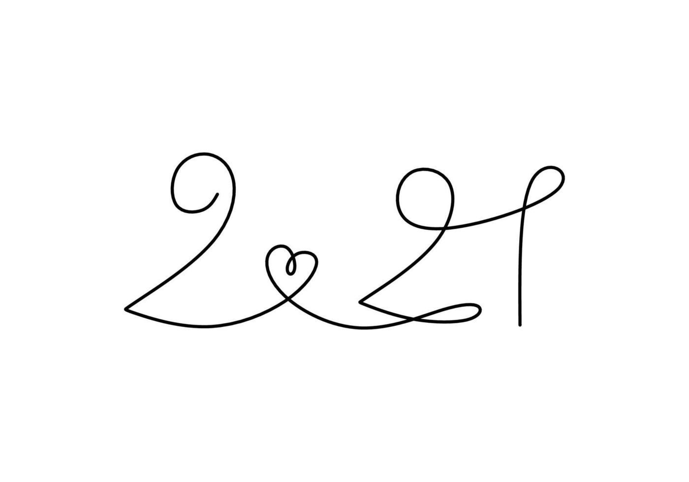 continu een lijntekening van een nieuw jaar 2021. chinees nieuwjaar van de stier handgeschreven letters. viering nieuwjaar concept geïsoleerd op een witte achtergrond. vector schets illustratie