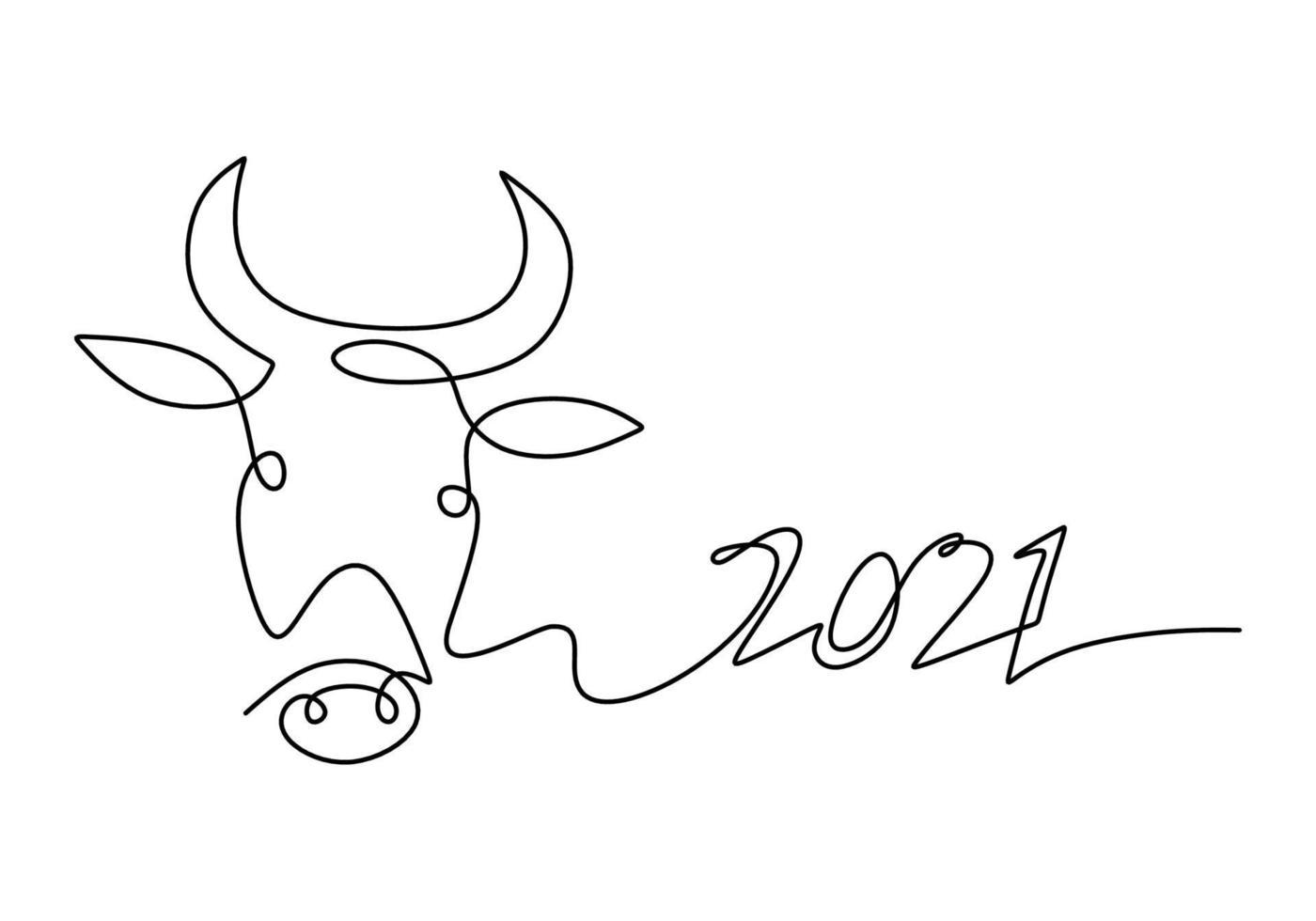 stier continu één lijntekening. symbool van het nieuwe jaar 2021. het concept van kracht, vertrouwen en betrouwbaarheid geïsoleerd op een witte achtergrond. gelukkig osjaar eenvoudig minimalisme ontwerp vector