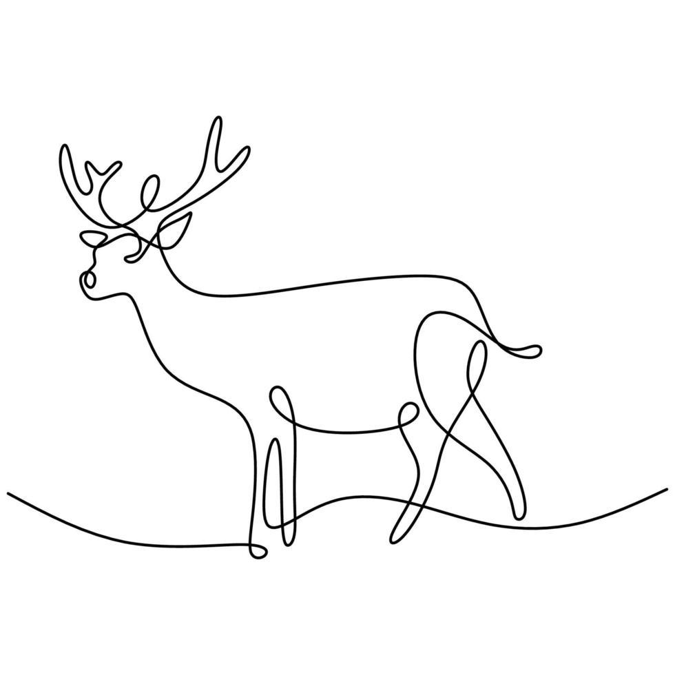 een doorlopende lijn ontwerp silhouet van herten. het rendier dat zich in het veld bevindt hand tekening lijntekeningen op wit achtergrond minimalisme design. kerst dieren concept. vector schets illustratie