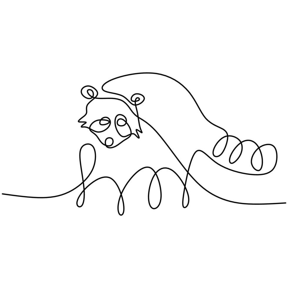 wasbeer een doorlopende lijntekening. grappig wasbeer dier mascotte concept voor nationaal behoud park pictogram geïsoleerd op een witte achtergrond. winter dier handgetekende minimalisme ontwerp vector