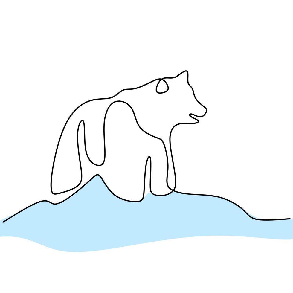doorlopende lijntekening van beren. schattige grizzlybeer staat in winter handgetekende minimalistische stijl. wild zoogdier dier concept geïsoleerd op een witte achtergrond. vector ontwerp illustratie
