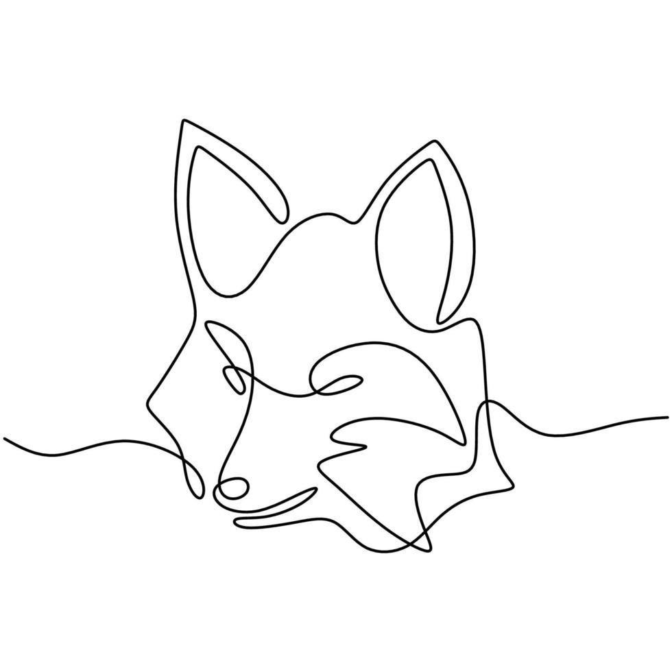 een enkele lijntekening van gevaarlijke wolvenkop. wild dier in een winter geïsoleerd op een witte achtergrond. sterke wolven mascotte concept voor de minimalistische stijl van het nationale dierentuinpictogram. vector illustratie