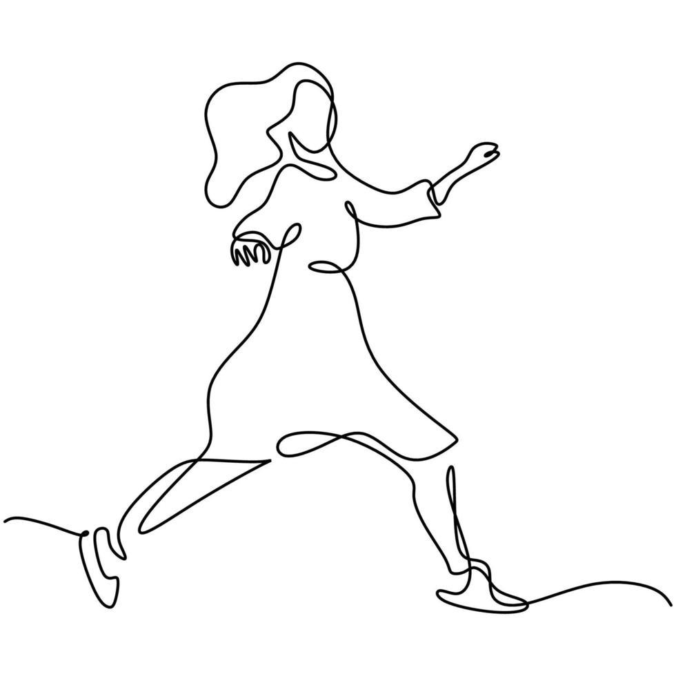 continu een enkele lijntekening vrolijke springende vrouw. mooie energieke vrouw springt van vreugde en ziet er erg blij uit. geluk, vrijheid, beweging mensen concept. vector ontwerp illustratie
