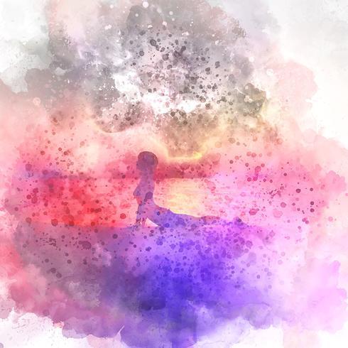 Vrouw in yoga stelt aquarel achtergrond vector