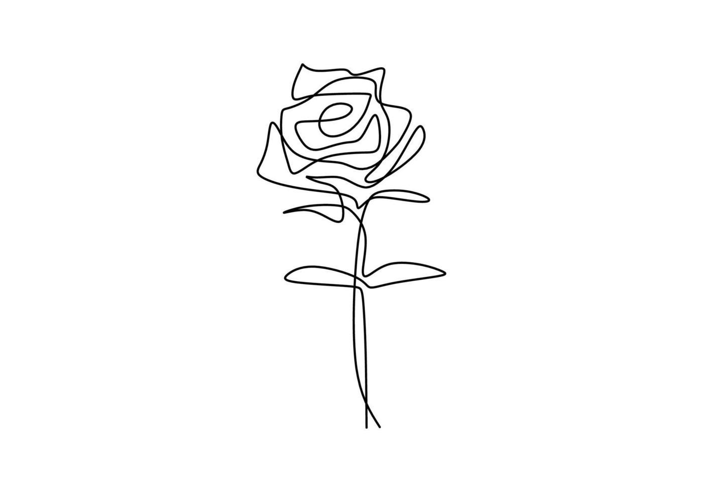 een doorlopende enkele lijn roos design handgetekende minimalistische stijl. mooie roos symbool van liefde geïsoleerd op een witte achtergrond. romantisch bloementhema. vector ontwerp illustratie