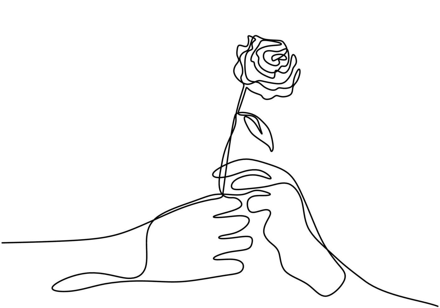 hand die een bloem continu één lijntekening geeft. hand's man houdt een roos vast en geeft deze aan iemand. karakter een paar romantische minimalistische ontwerp hand getekend op een witte achtergrond. vector illustratie