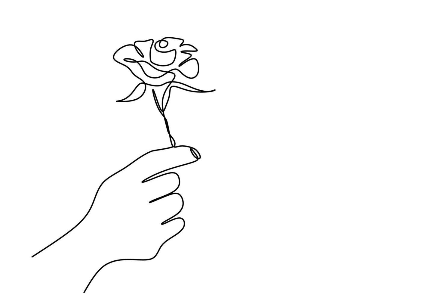 doorlopende lijntekening van een hand met roze bloem. hand vrouw met een bloem geïsoleerd op een witte achtergrond. geef een teken van liefde voor iemand. minimalistische stijl. vector schets illustratie