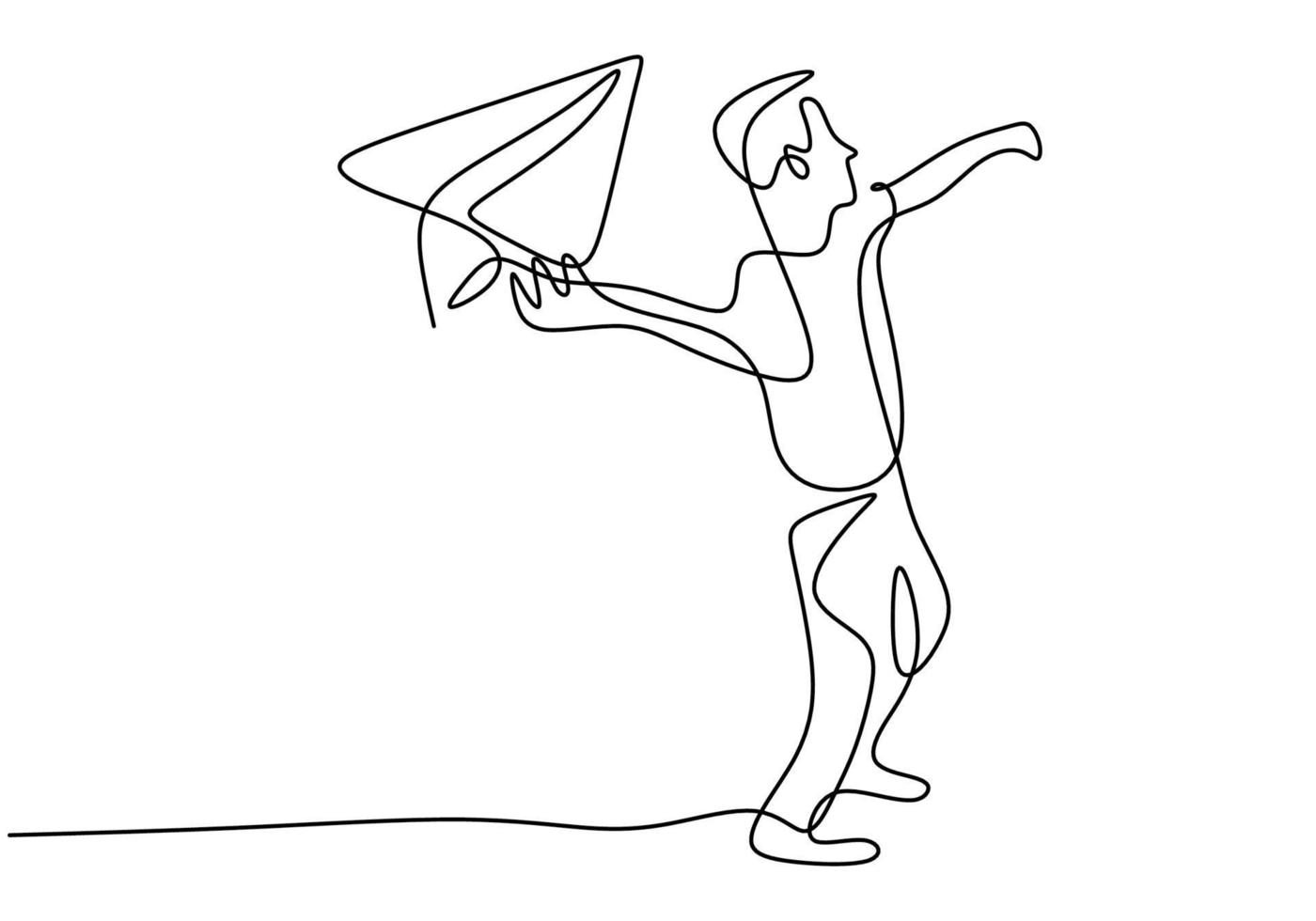 een doorlopende lijntekening van de jongen lanceert een vliegtuig. klein kind spelen papieren vliegtuigje in de lucht op buiten veld geïsoleerd op een witte achtergrond. vrijheid en passie creatief minimalistisch concept vector