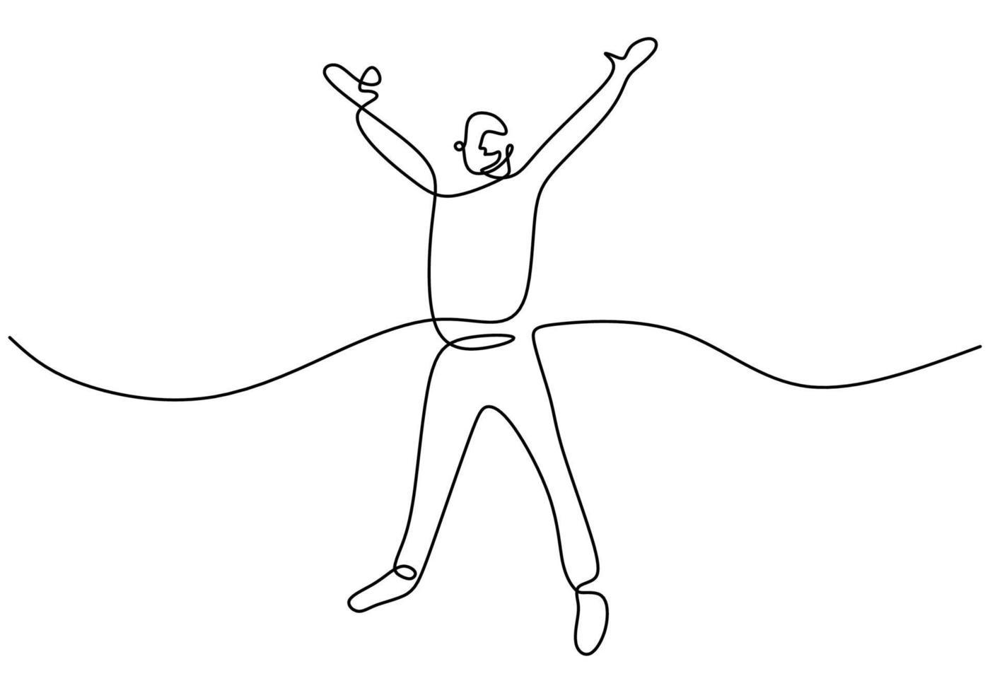 doorlopende lijntekening van gelukkig man springen. jonge aantrekkelijke mannelijke sprong ziet er gelukkig uit en vrijheid geïsoleerd op een witte achtergrond. prestatie en droom van succesconcept. vector schets illustratie