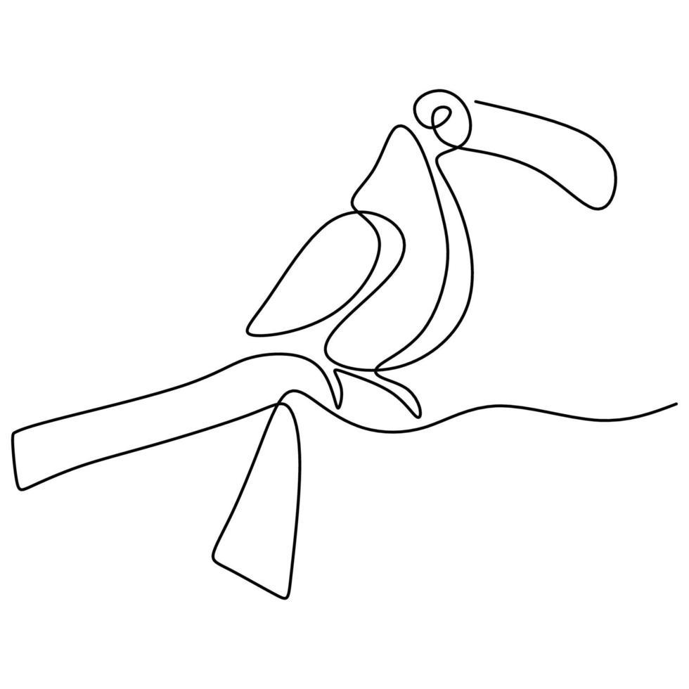 een doorlopende lijntekening van schattige toekanvogel. een prachtige exotische vogel met een piek geïsoleerd op een witte achtergrond. bedreigde dieren mascotte concept voor nationaal behoud park pictogram. vector
