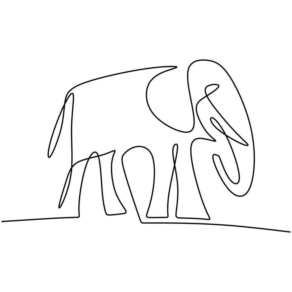 een doorlopende lijntekening van olifant. een grote dierlijke Afrikaanse olifant staat met silhouet van de babyolifant het hand getrokken beeld. behoud van wild dier nationaal park. vector illustratie