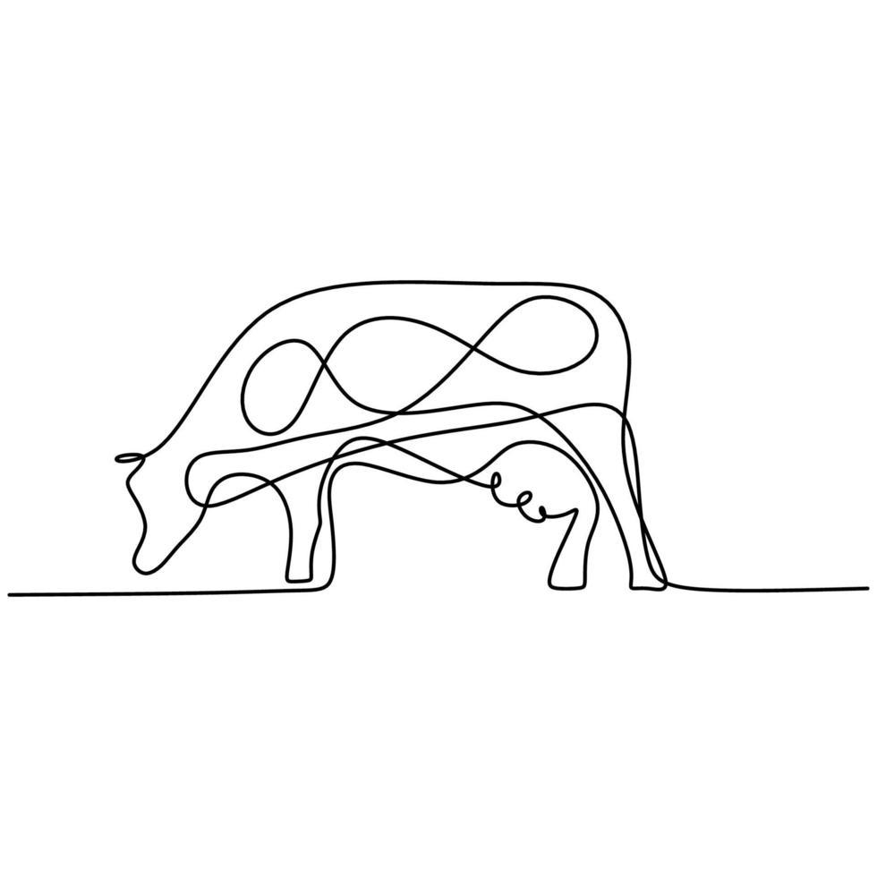 koe continu een lijntekening. stevige staande koe voor de identiteit van het landbouwembleem die op witte achtergrond wordt geïsoleerd. zoogdier dier mascotte concept voor landbouw pictogram. minimalisme ontwerp. vector illustratie