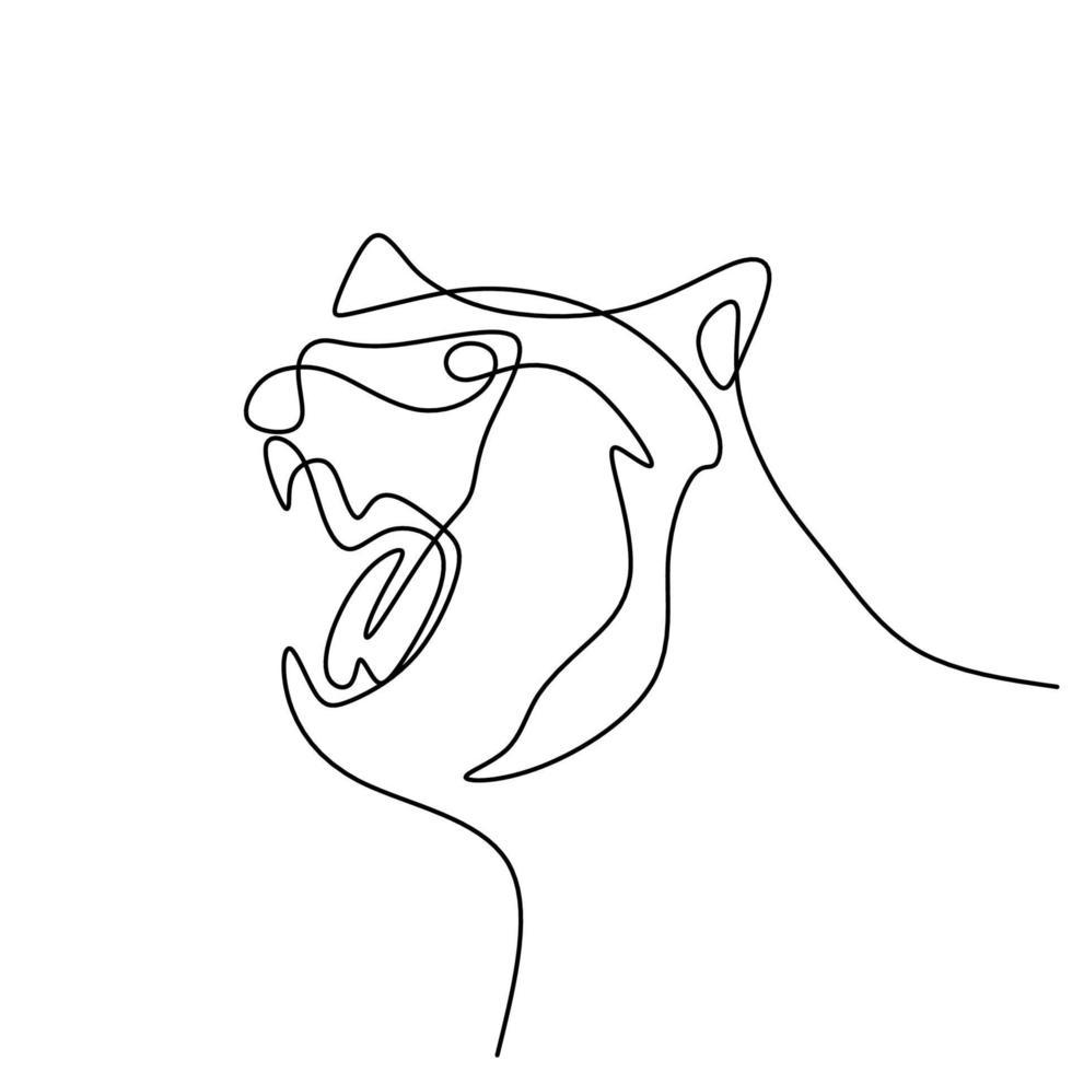 berenkop continu een lijntekening. gevaar groot dier met boze uitdrukking geïsoleerd op een witte achtergrond. woede berenkop, grommende beer. wild dier concept. vector illustratie