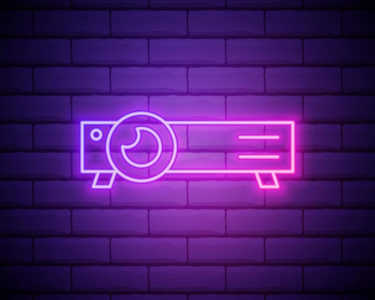 gloeiende neon lijn presentatie, film, film, media projector pictogram geïsoleerd op bakstenen muur achtergrond. vector illustratie