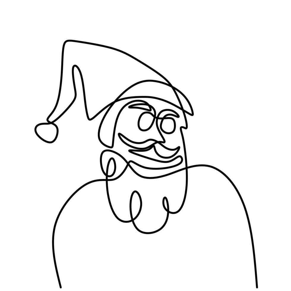 continue enkele lijntekening van het gezicht van de kerstman met hoed en baard handgetekende kunst lijn minimalisme doodle. Kerst concept geïsoleerd op een witte achtergrond. vector illustratie