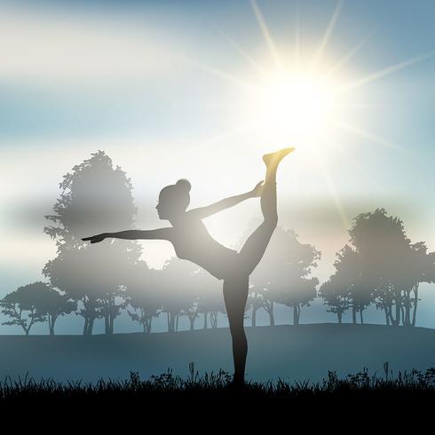Vrouw in yoga stelt in platteland vector