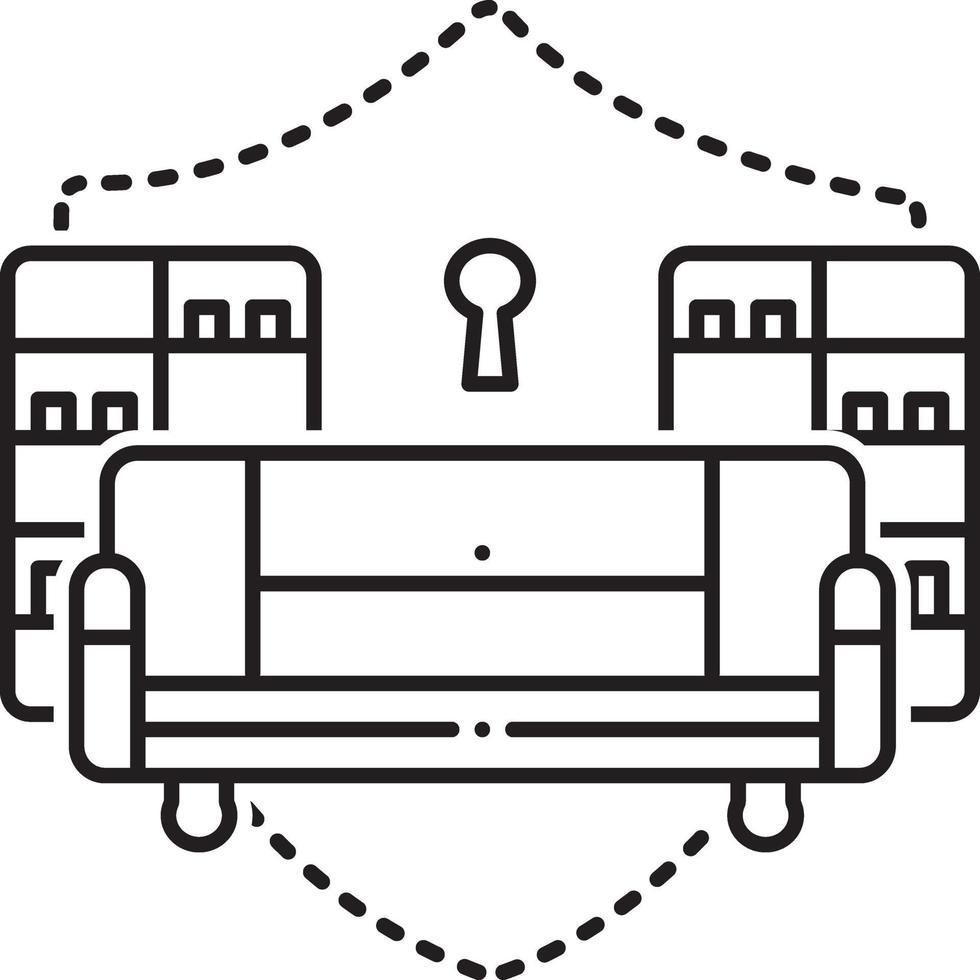 lijn pictogram voor inboedelverzekering vector