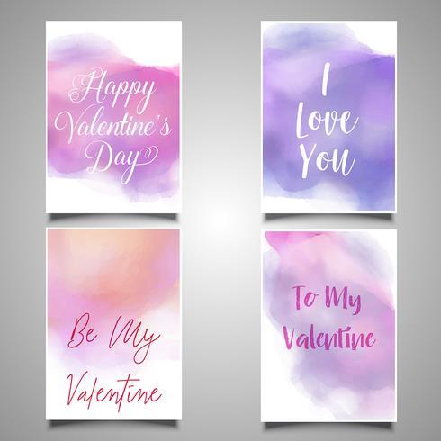 Valentijnsdag kaarten met aquarel ontwerpen vector