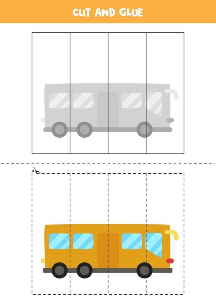 knip en lijm spel voor kinderen. cartoon bus. vector