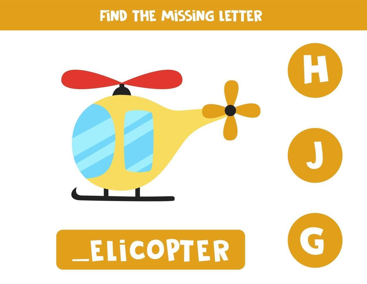 zoek ontbrekende brief met cartoonhelikopter. spelling werkblad. vector