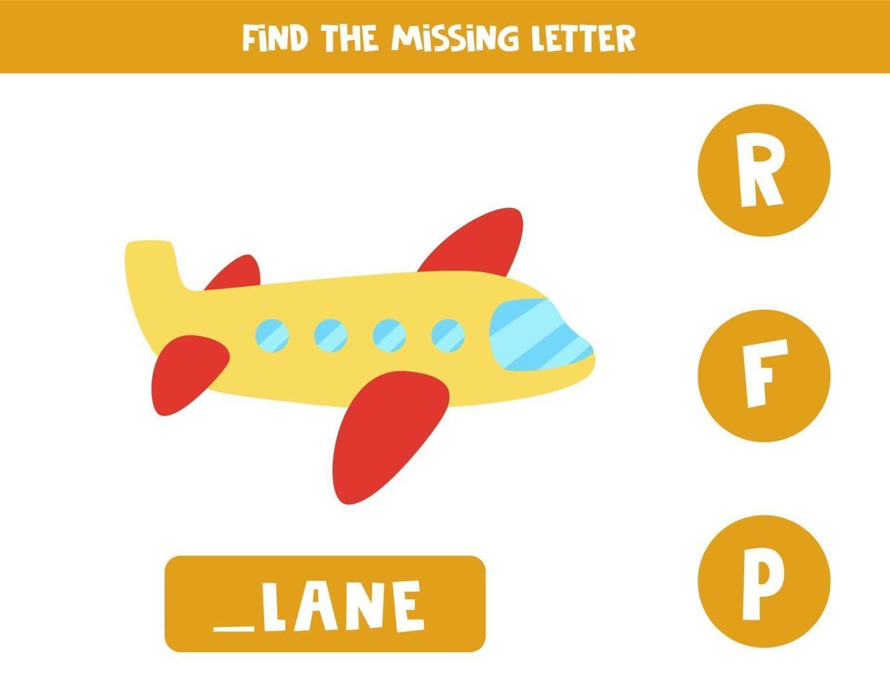 zoek ontbrekende brief met cartoonvliegtuig. spelling werkblad. vector