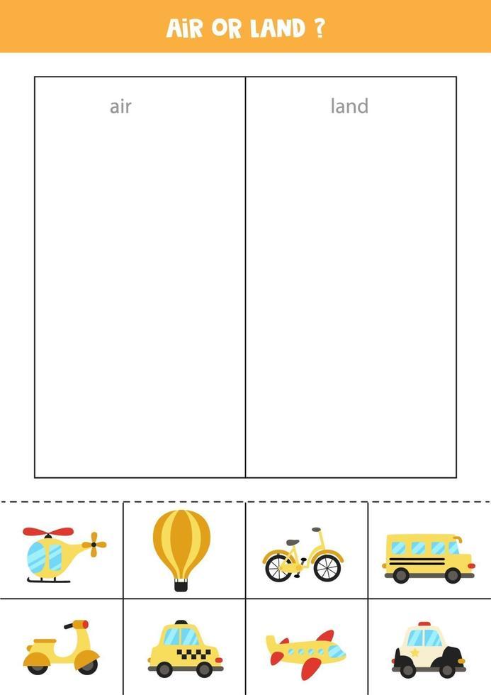 sorteer kaarten door lucht- of landtransport. logisch spel voor kinderen. vector