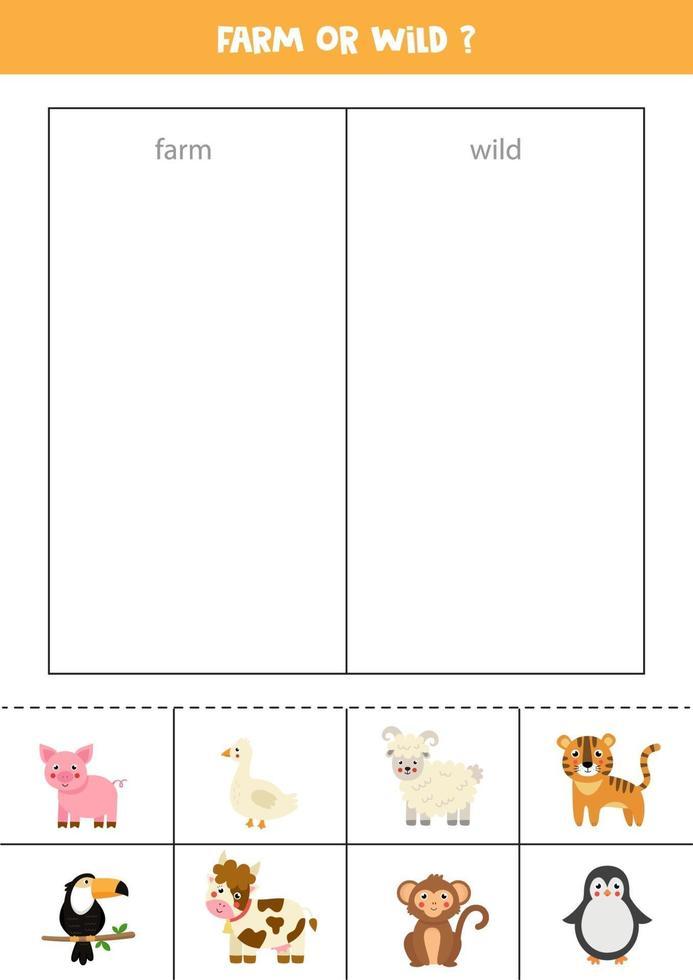 sorteer kaarten in wilde dieren en boerderijdieren. logisch spel voor kinderen. vector
