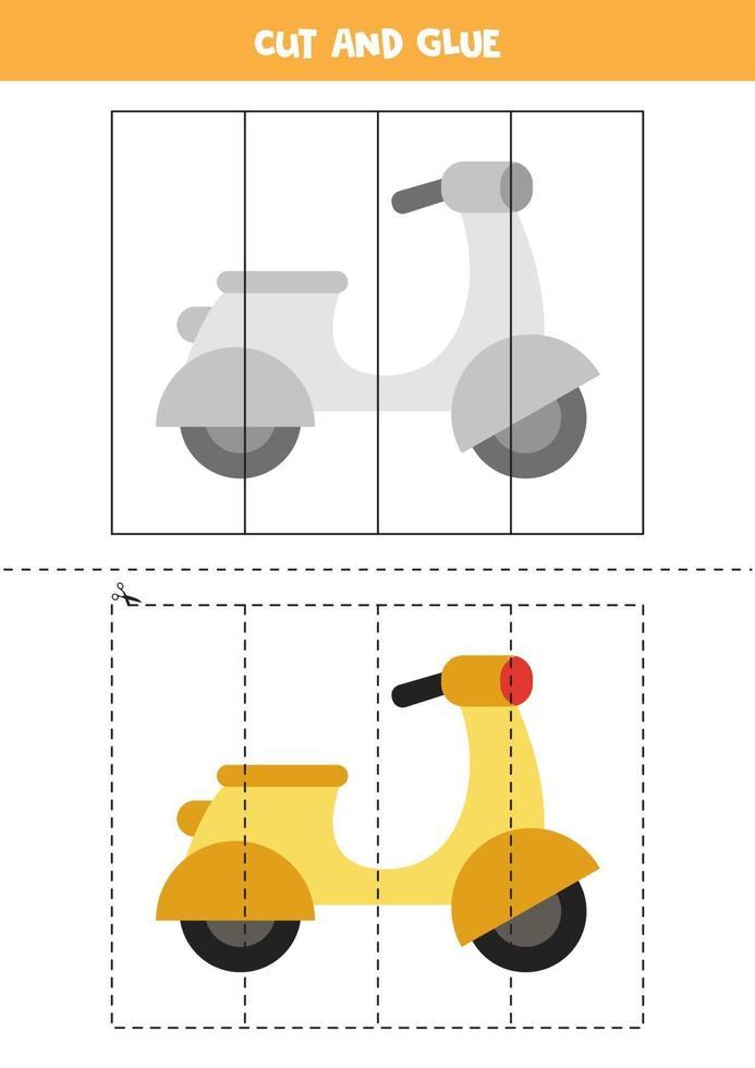 knip en lijm spel voor kinderen. cartoon bromfiets. vector