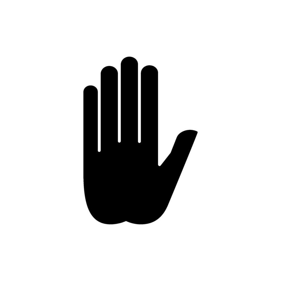 stop gebaar zwarte glyph pictogram vector