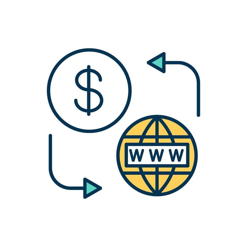 prepaid kleur pictogram voor internettoegang vector