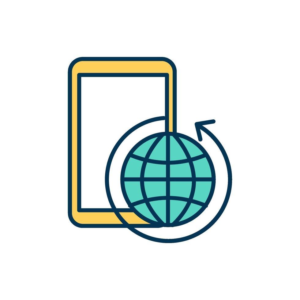 mobiel internet kleur pictogram vector