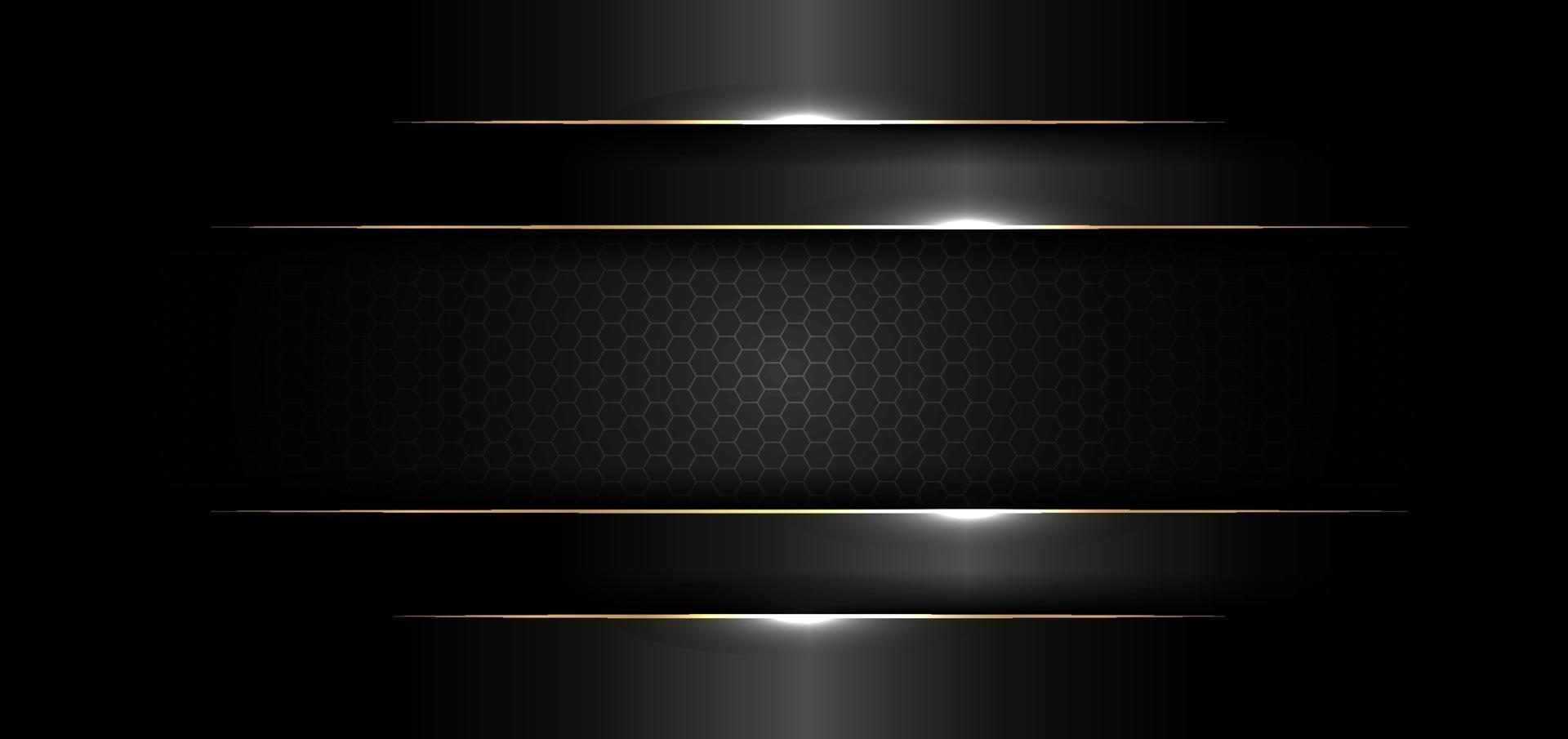 abstracte banner ontwerpsjabloon zwart glanzend met gouden lijn en lichteffect op donkere achtergrond en textuur vector