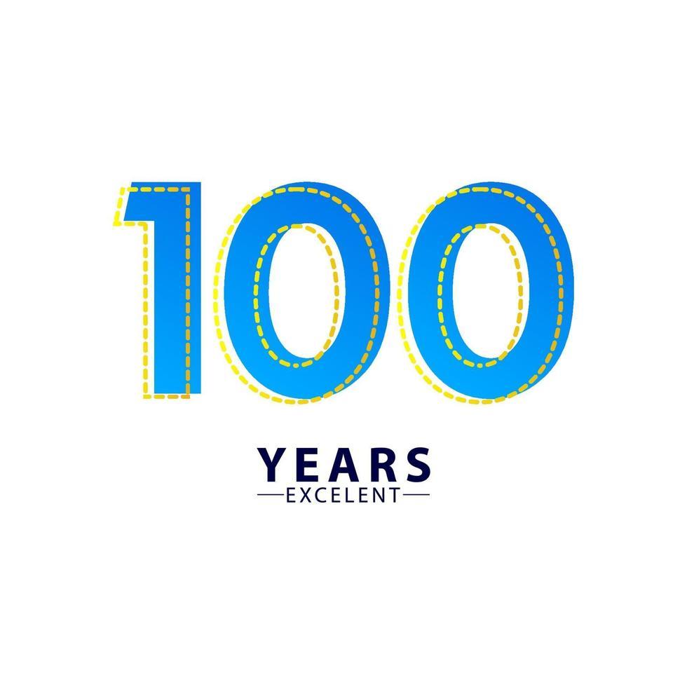 100 jaar uitstekende verjaardag viering blauwe dash vector sjabloon ontwerp illustratie