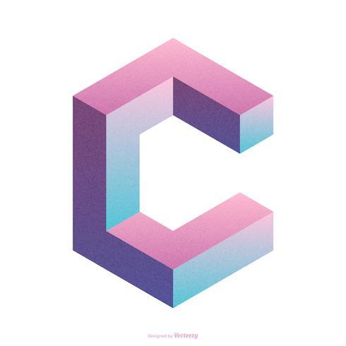 Isometrische Letter C Typografie Vector Design