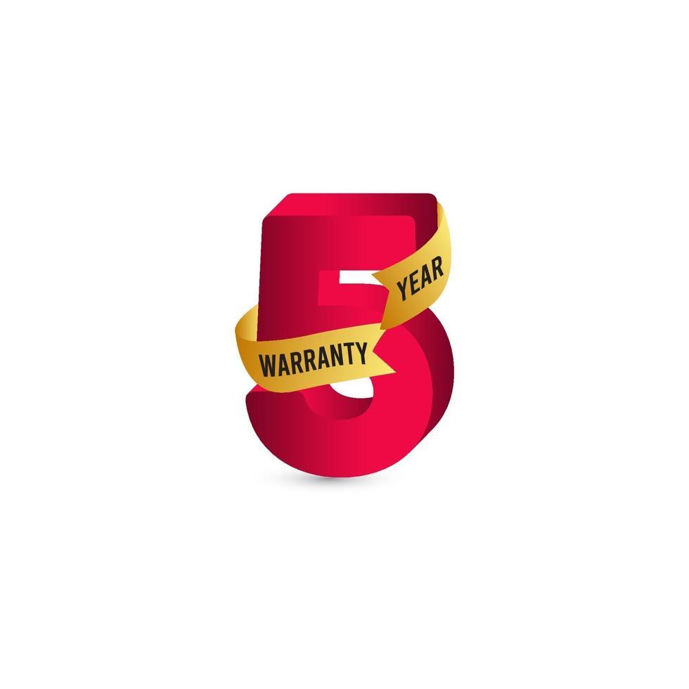 5 jaar garantie 3 d vector label logo sjabloon ontwerp illustratie