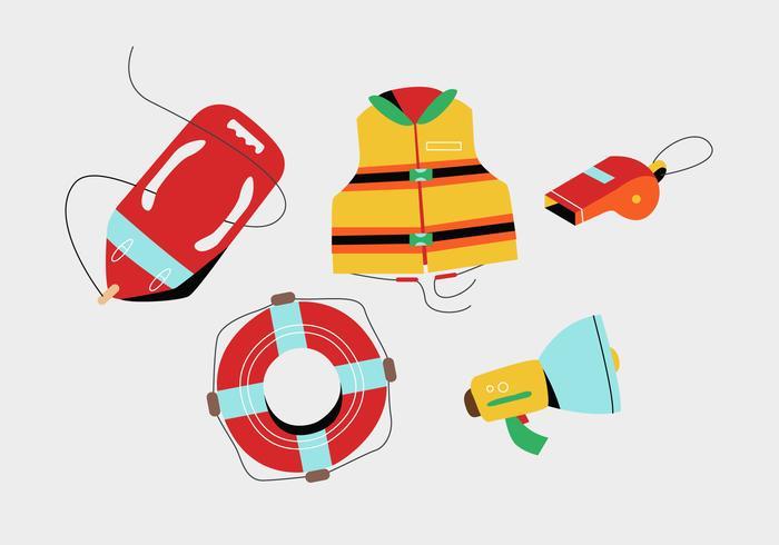 Badmeesterhulpmiddelen en Materiaal voor Vector Vlak de Illustratiepak van de veiligheid