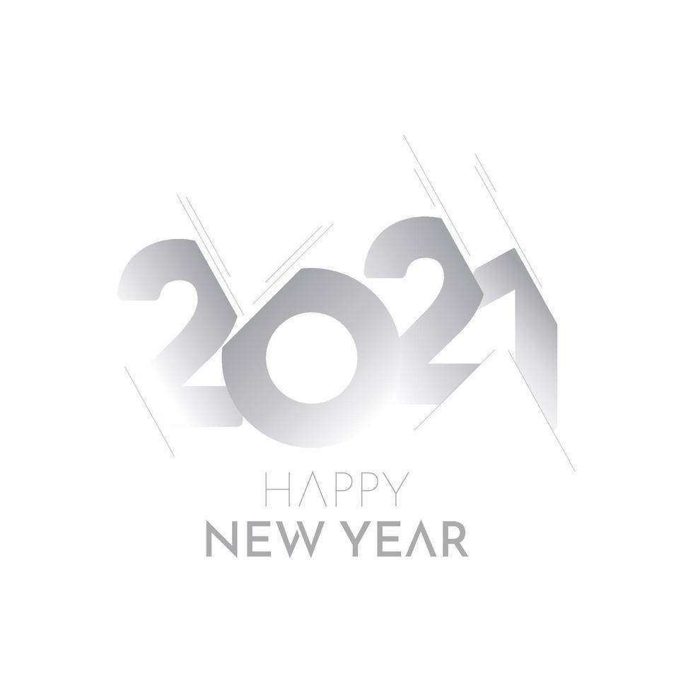 Gelukkig Nieuwjaar 2021 papier nummer label label vector sjabloonontwerp illustratie