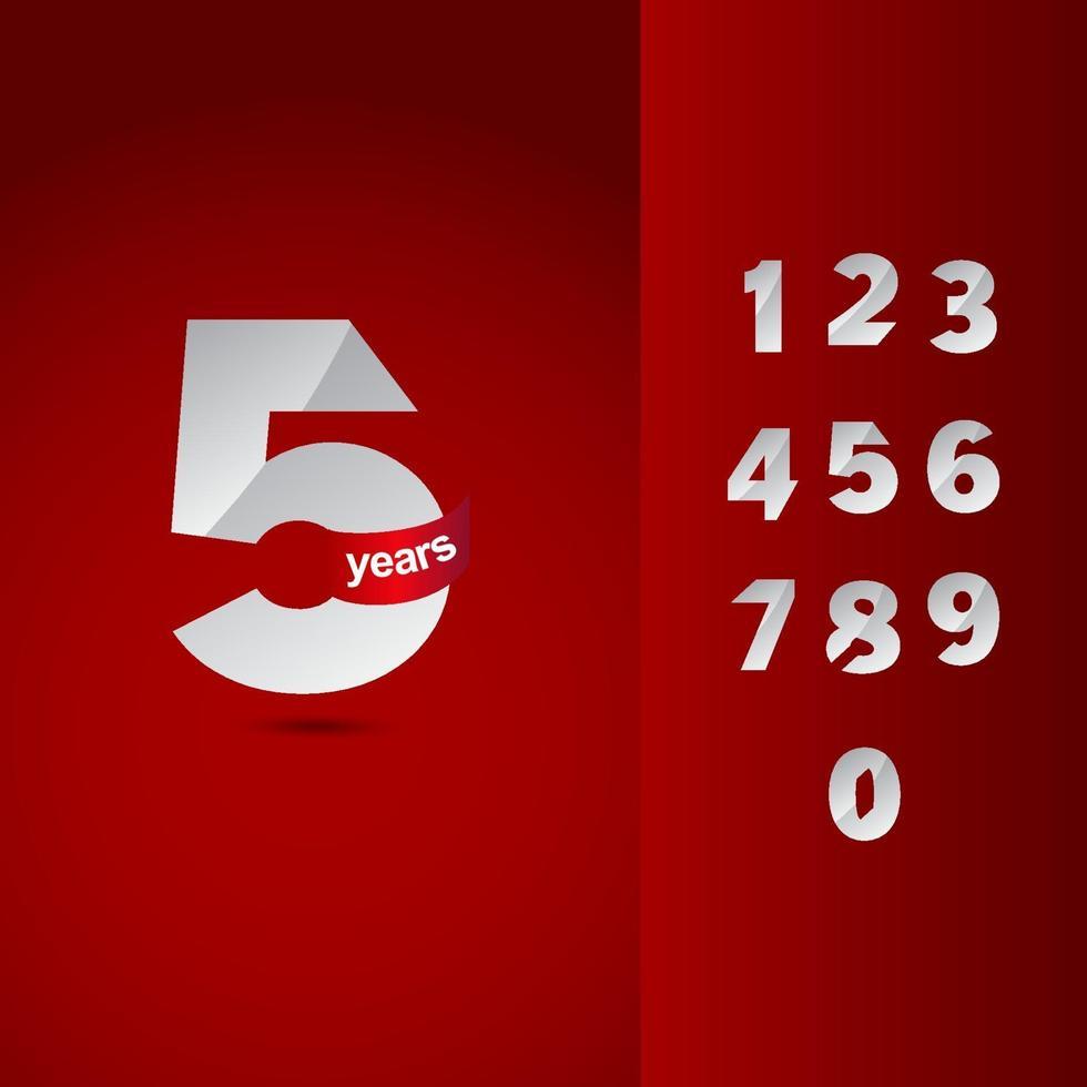 5 jaar Jubileumfeest instellen nummer elegante vector sjabloon ontwerp illustratie