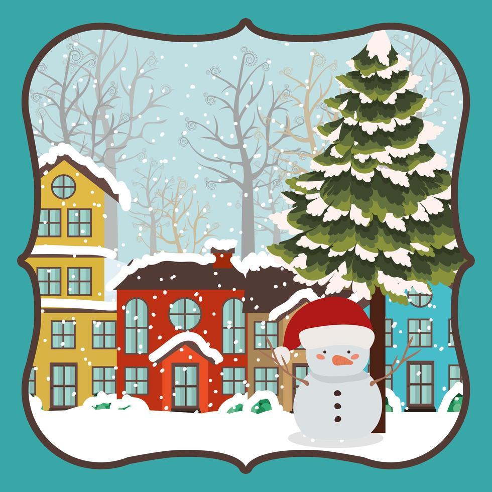 vrolijke kerstkaart met sneeuwpop vector