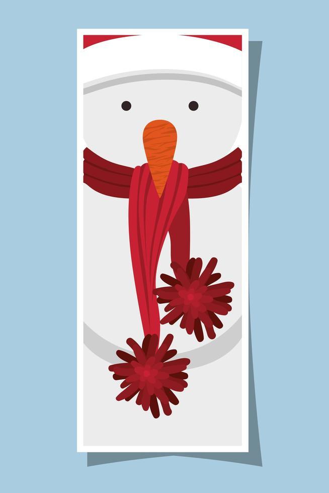 vrolijk kerstfeest tag met sneeuwpop karakter vector