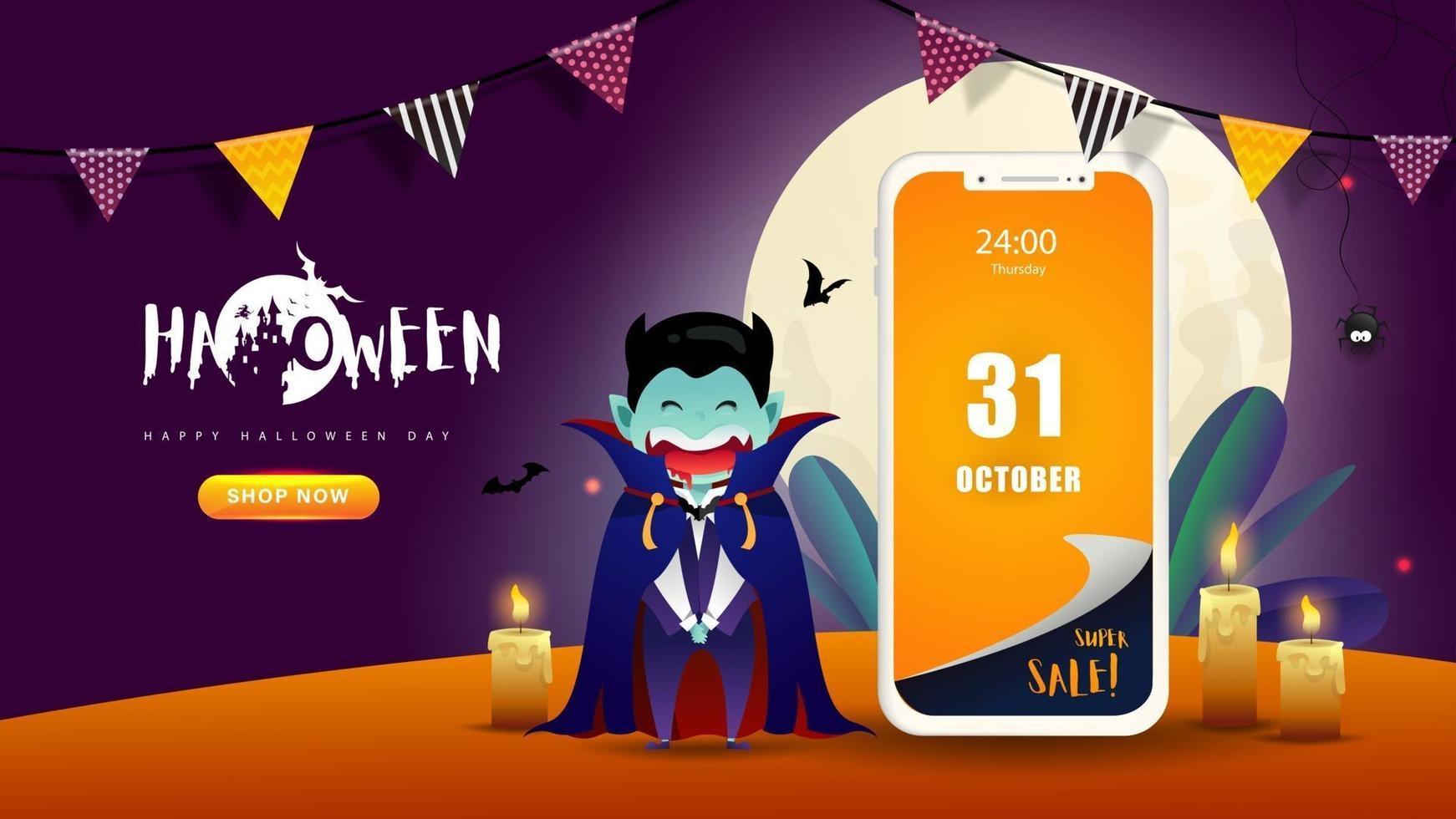 halloween achtergrondontwerp. gelukkige halloween-dag vector. vector